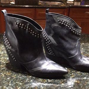 EUC black leather designer booties